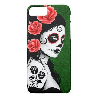 Día del chica muerto del cráneo del azúcar - verde funda iPhone 7