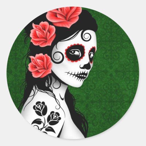 Día del chica muerto del cráneo del azúcar - verde pegatina redonda