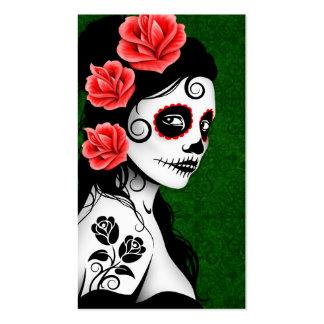 Día del chica muerto del cráneo del azúcar - verde tarjeta de visita