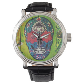 Día del cráneo azul y verde enrrollado muerto del reloj