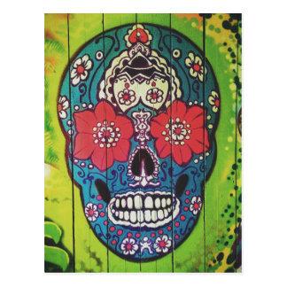 Día del cráneo azul y verde enrrollado muerto del tarjetas postales