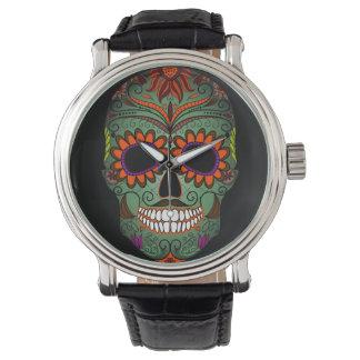 Día del cráneo del azúcar de los muertos reloj de mano