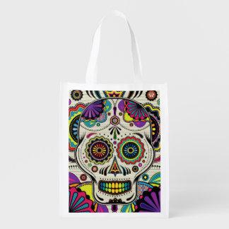 Día del cráneo del azúcar del bolso azteca muerto bolsa de la compra