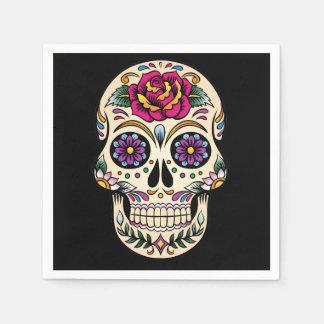 Día del cráneo muerto con el rosa servilletas de papel