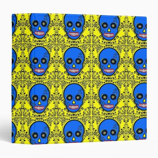 """Día del cráneo muerto del azúcar - azul y del carpeta 1 1/2"""""""