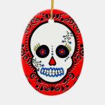 Día del cráneo muerto del azúcar - blanco y rojo - ornamento de reyes magos