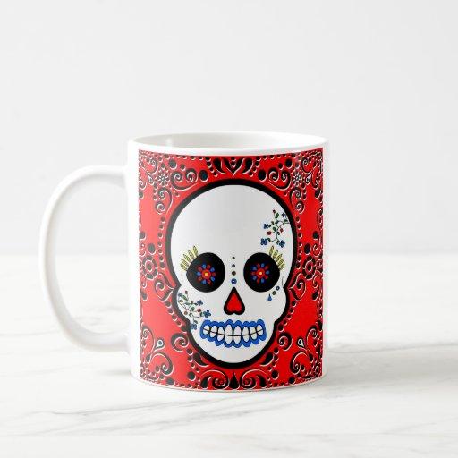 Día del cráneo muerto del azúcar - blanco y rojo tazas de café