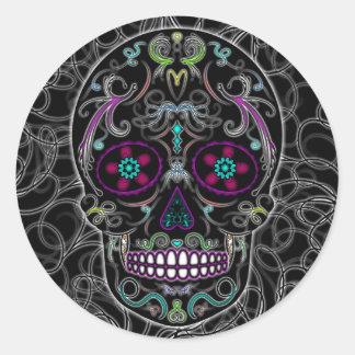 Día del cráneo muerto del azúcar - colorido negro pegatina