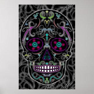 Día del cráneo muerto del azúcar - colorido negro póster