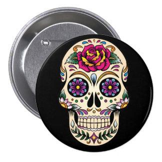 Día del cráneo muerto del azúcar con el botón pin redondo de 3 pulgadas