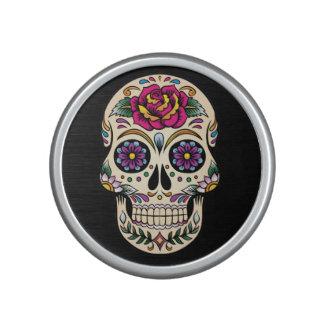 Día del cráneo muerto del azúcar con el rosa altavoz