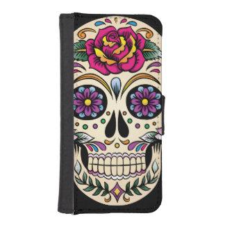 Día del cráneo muerto del azúcar con el rosa fundas tipo billetera para iPhone 5