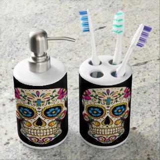 Día del cráneo muerto del azúcar con la cruz conjunto de baño