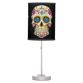 Día del cráneo muerto del azúcar con la cruz lámpara de mesa
