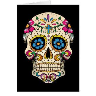 Día del cráneo muerto del azúcar con la cruz tarjeta de felicitación