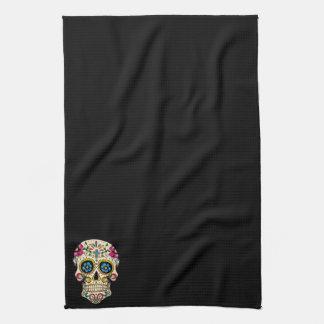 Día del cráneo muerto del azúcar con la cruz toallas de cocina