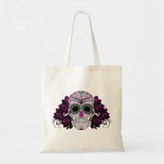 Día del cráneo muerto del azúcar con los rosas bolsa de mano