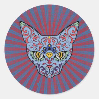 Día del cráneo muerto del azúcar del gato azul pegatina redonda