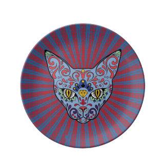 Día del cráneo muerto del azúcar del gato azul platos de cerámica