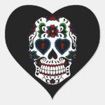 Día del cráneo muerto del azúcar en azul pegatina de corazon