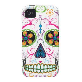 Día del cráneo muerto del azúcar - multicolor bril vibe iPhone 4 fundas