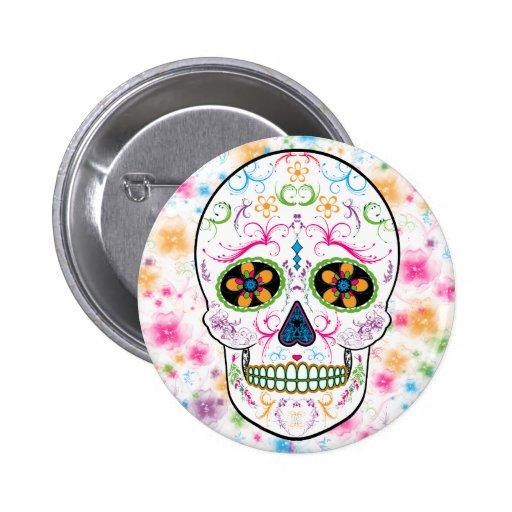 Día del cráneo muerto del azúcar - multicolor bril pin redondo de 2 pulgadas