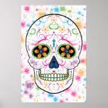 Día del cráneo muerto del azúcar - multicolor bril póster