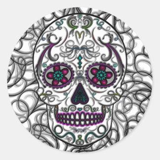 Día del cráneo muerto del azúcar - multicolor de pegatina redonda