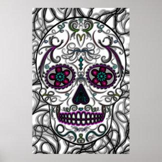 Día del cráneo muerto del azúcar - multicolor de S Póster