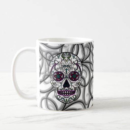 Día del cráneo muerto del azúcar - multicolor de S Taza De Café
