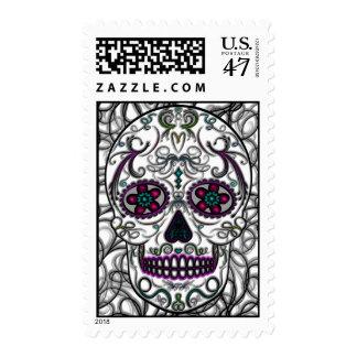 Día del cráneo muerto del azúcar - multicolor de timbre postal