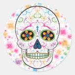 Día del cráneo muerto del azúcar - multicolor etiquetas redondas