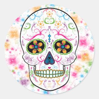 Día del cráneo muerto del azúcar - multicolor pegatina redonda