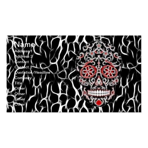 Día del cráneo muerto del azúcar - negro, blanco y plantillas de tarjetas personales