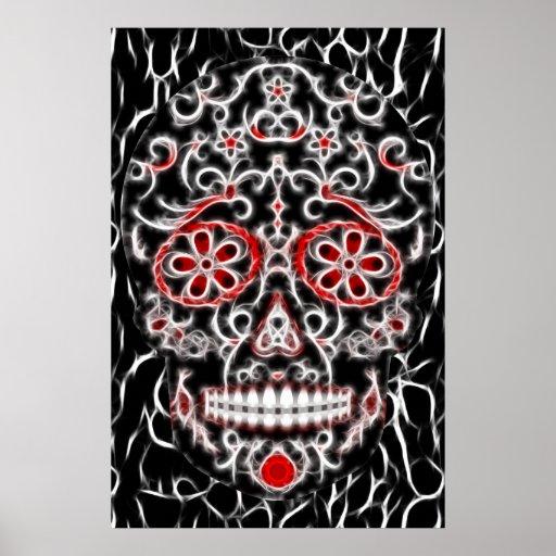 Día del cráneo muerto del azúcar - negro, rojo y b póster