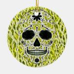 Día del cráneo muerto del azúcar - oro, negro y ornamento de navidad