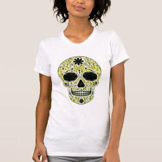 Día del cráneo muerto del azúcar - oro, negro y ve camisetas