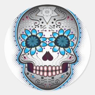 Día del cráneo muerto del azúcar pegatina redonda