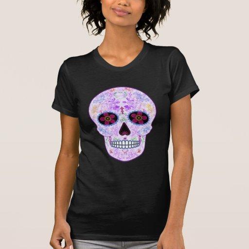 Día del cráneo muerto del azúcar - púrpura y multi playera