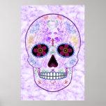 Día del cráneo muerto del azúcar - púrpura y multi póster