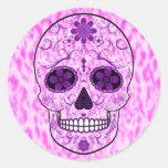 Día del cráneo muerto del azúcar - rosa y púrpura pegatina