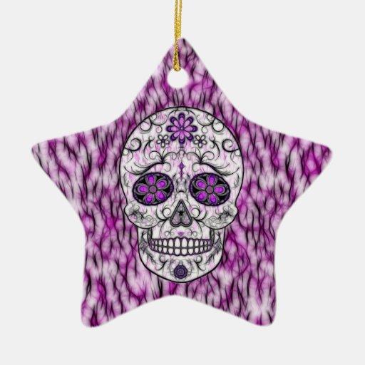 Día del cráneo muerto del azúcar - rosado y de la adorno navideño de cerámica en forma de estrella