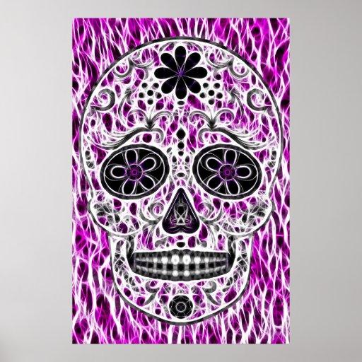 Día del cráneo muerto del azúcar - rosado y de la  poster