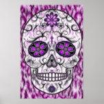 Día del cráneo muerto del azúcar - rosado y de la  posters