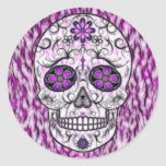 Día del cráneo muerto del azúcar - rosado y de la etiquetas redondas