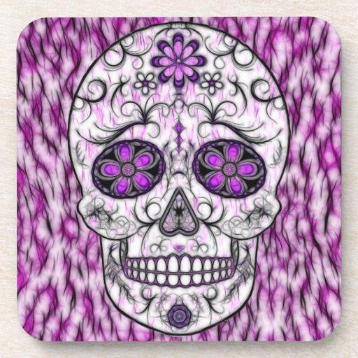 Día del cráneo muerto del azúcar - rosado y de la  posavasos