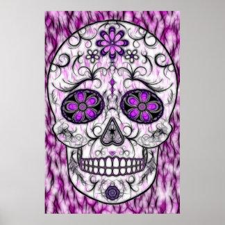 Día del cráneo muerto del azúcar - rosado y de la  póster
