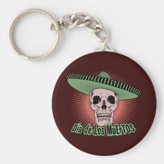Día del cráneo muerto llavero redondo tipo pin