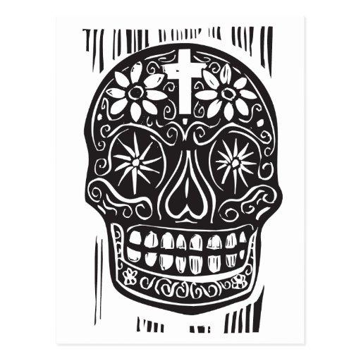 Día del cráneo muerto tarjeta postal