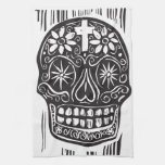 Día del cráneo muerto toalla de cocina